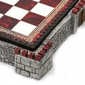 Schachbrett Behälter mittelalterliche Burg grau aus Alabaster, Kunstharz und Kunstleder mit bunten Details