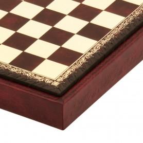Schachbrett Behälter in Kunstleder Farbe elfenbein und bordeaux von Hand eingelegt